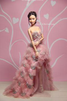 Katniss Everdeen Barbie in Pink Handmade Dress by Leo Christian / dollphotographer