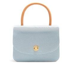 Mansur Gavriel Metropolitan grosgrain top-handle bag ($895) ❤ liked on Polyvore featuring bags, handbags, light blue, handle handbag, retro purses, light blue purse, mansur gavriel bag and light blue bag
