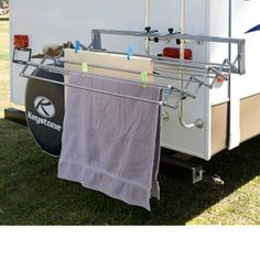 Genius drying rack for wet towel on camping trip