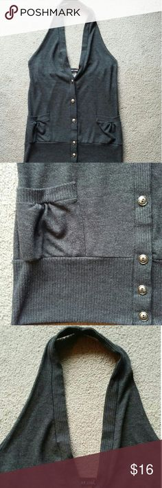 NEW  Wet Seal top NEW - NEVER WORN Washed once Never dried Size medium Dark charcoal grey with silver buttons Pockets Button up button down Halter top cardigan tank sleeveless Size medium Low v front Open back CHEAPER WHEN BUNDLED WITH OTHER ITEMS IN MY CLOSET Wet Seal Tops Tank Tops
