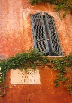 Very familiar street corner-window & steet sign; Trastevere, Rome w J.