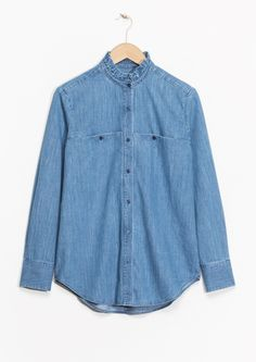 & Other Stories image 1 of Ruffle Collar Chambray Shirt in Blue