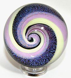 lavender cream Lampwork Vortex Marble Paperweight by jwinterbowerglassart, via Flickr #glass #purple