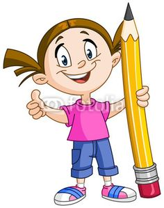 Girl holding big pencil - Buy this stock vector and explore similar vectors at Adobe Stock Giant Pencil, Fashion Design Template, Cartoon People, Classroom Language, People Illustration, Vintage Logo Design, Vintage Stamps, Clips, Kids Sports