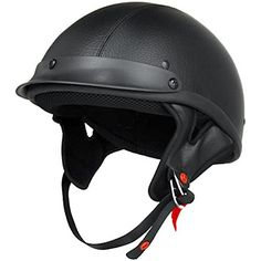 DOT Approved Motorcycle Helmet Half Helmet Shorty Open Face Black Leather EVOS Sport Street Bike Cruiser