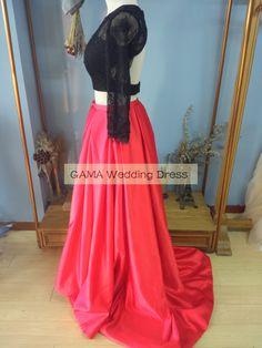 Black Lace Top and Red Satin Skirt 2 Pieces Prom Dresses