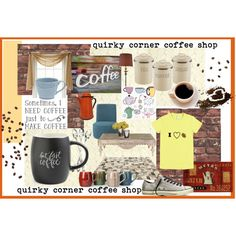 quirky corner coffee shop by jennross76 on Polyvore featuring polyvore, interior, interiors, interior design, home, home decor, interior decorating, Home Decorators Collection, ELK Lighting, Linie Design, Printable Wisdom, Typhoon, Signature Housewares, Juliska, Royal Velvet, Laura Ashley, Converse and coffee