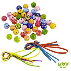 44 Perles en bois et 3 lacets Leroy du jouet