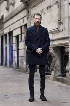 Men's Black Jeans, Black Leather Boots, Blue Longsleeve Shirt, Navy Pea Coat, and Black Leather Gloves