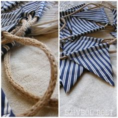 Nautical bunting - like the idea of the rope between the fabric.  Back porch?