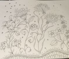 Ink flowers for colouring. Relax and enjoy mindfulness