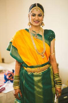 Tamil Iyer Bride in Yellow and Green Silk with Madisar Draping Style
