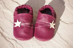 Plum Star Leather Soft Sole Baby Shoes - Choose your size. £16.00, via Etsy.