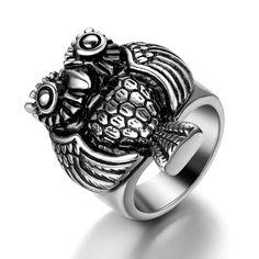 Retro Eule Ring Silber Eulenring Edelstahl Tier Fingerring Damen Herren Geschenk
