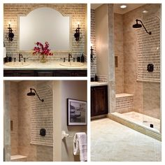 Traditional tiled travertine bathroom and shower