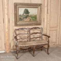 Country French Rush Seat Bench and Antique Painting  | www.inessa.com #CountryFrench #Antiques
