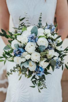 Wedding Bouquet, Bridal Bouquet, White and Blue Bouquet flowers bouquet Austin and Madison Wedding Day Blue Wedding Flowers, Bridal Flowers, Flower Bouquet Wedding, Floral Wedding, Wedding Colors, Lace Wedding, Wedding Rings, Bridal Bouquet White, Wedding Blue
