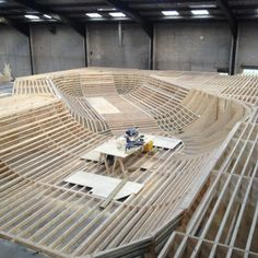 """You just gotta love the look of a new Sk8Park's skeletal framework... and an indoors one aswell. This is a shot of what's being built right now in Connottingham UK. Found via - fellow SkateHead pinner Kris """"ICEMAN"""" Thykeson. This is just one of many killer pins he has collected, go check him out... SkullyBloodrider."""