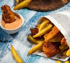 Mini Hake and Chips are an exciting twist on the British Classic, and also makes a great alternative finger food during the festive season.