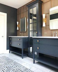 Masculine Bathroom, Modern Bathroom, Master Bathroom, Bathroom Double Vanity, Master Tub, Navy Bathroom, Mirror Bathroom, Industrial Bathroom, Wood Bathroom