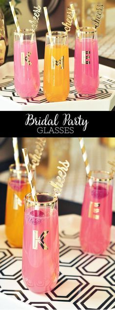 Bachelorette Party Favors will be loved by your bridesmaids with these pretty monogram cups! Personalized Glasses come Monogrammed with a gold initial -