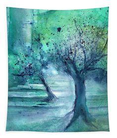 Olive Trees In Moonlight Canvas Print featuring the painting Olive Trees in Moolight by Sabina Von Arx Artwork Prints, Framed Artwork, Framed Prints, Poster Prints, Tree Canvas, Canvas Art, Canvas Prints, Moonlight Painting, Watercolor Trees