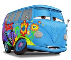 Love the movie CARS. and it's a natural that I love this little VW Van, Filmore. Volkswagen Transporter, Volkswagen Bus, Vw T1, Vw Camper, Campers, Cartoon Art, Vw Bugs, Vw Hippie Van, Station Wagon