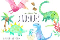 Dinosaurs Watercolors Clipart Printable hand by PaperSphinx
