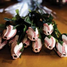 Baseball Roses!!!  Id melt if a man sent me these!