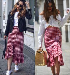 Street look com saia Vichy longa, a estampa do verão gringo, aquele xadrez de picnic, só que com outra modelagem, mais comprida, e para surpresa geral da nação, também tem um modelo em especial que fez sucesso!
