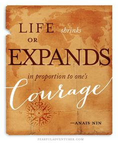 """""""Life shrinks or expands in proportion to one's courage."""" —Anais Nin."""