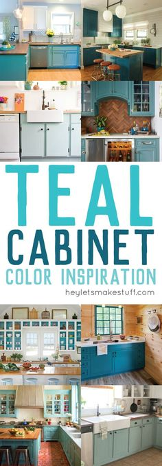 Teal Cabinet Paint Color Inspiration is part of Teal Kitchen cabinet - Painting your cabinets a fun shade of teal might feel like a big risk but with big risk comes big reward! Take a look at these gorgeous teal kitchens Teal Kitchen Cabinets, Painting Kitchen Cabinets, Kitchen Paint, Home Decor Kitchen, New Kitchen, Kitchen Design, Kitchen Counters, Kitchen Colors, Kitchen Furniture