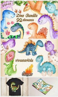 Watercolor Bundle by Vivastarkids Dino Drawing, Easy Canvas Art, Nursery Art, Dinosaurs, Design Bundles, Snoopy, Clip Art, Graphics, Illustrations