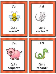 French les animaux J'ai … Qui a …? French version of the I have … Who has …? This French game can be played to practice French animals. The game has 39 cards with a colorful frame and 39 cards with a simple black frame to save y Study French, Core French, Learn French, French Teacher, Teaching French, Teaching Spanish, Teaching Reading, French Flashcards, French For Beginners