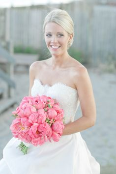 Pink #peony #bouquet Photography: Leila Brewster - leilabrewsterphotographyblog.com, Florals by http://sayleslivingstonflowers.com  Read More: http://stylemepretty.com/2013/10/08/narragansett-rhode-island-wedding-from-leila-brewster/