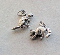 Charms, Animals: Wildlife Beaver and Raccoon Sterling Silver Charms (2) #Traditional