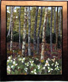 Quilts by JVC: 'Trilliums' (33 inches wide x 39 inches tall) by       Joanne Cranfield