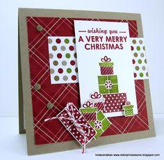 SU - Season of Style paper. Wishing you a very merry Christmas. Stampin Up Christmas, Christmas Cards To Make, Merry Little Christmas, Christmas Tag, Xmas Cards, Holiday Cards, Christmas Crafts, Christmas Ideas, Christmas Inspiration