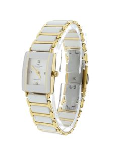 Oniss ON294-LWT/GWT Women's Watch White Dial Diamonds Gold-Plated Stainless Steel White Ceramic Case & Band
