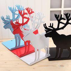 Nordic Deer Metal Bookends Norwegian Design Set of 2