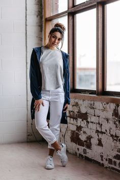 Spring Summer 2016 - Womens fashion. Avila tencel parka, white chino, swing T and Stan smith sneakers.