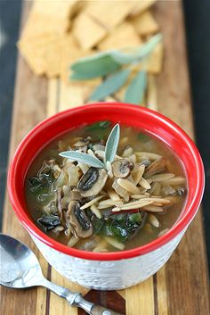 Healthy Mushroom & Swiss Chard Soup Recipe {Vegetarian}...Comfort in a bowl! | cookincanuck.com