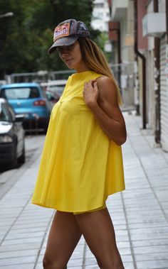 Oversize Yellow Top Plus Size Maxi Tunic Top Loose Cotton