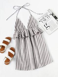 Grey Vertical Stripe Halter Neck Plunge Frill Trim Mini Dress