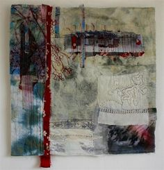 Spring Snow by Cas Holmes - Mixed media textile with found materials. Print, dye, layered and stitched. , 2010 55x55cm