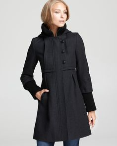 DKNY Babydoll Coat with Knit Collar & Cuffs - Coats & Jackets - Apparel - Women's - Bloomingdale's