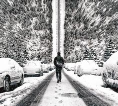 surreal snowy streetscapes ❄️ art by justin main / @photified  more #digitalart on #designboom