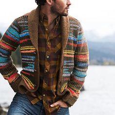 Sweater Jacket, Men Sweater, Mountain Fashion, Stylish Mens Outfits, Mens Fashion, Fashion Outfits, Gothic Fashion, Men's Wardrobe, Vintage Jacket