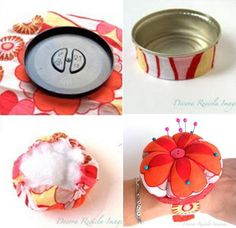 Handmade hat pincushion with folded roses Sewing Desk, Sewing Toys, Sewing Crafts, Sewing Projects, Upcycled Crafts, Diy And Crafts, Diy Cushion, Needle Book, Vintage Crafts
