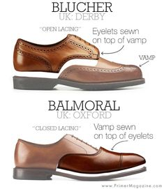 Difference between derby, bluchers, oxfords, balmorals, shoes